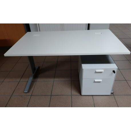 Bureau COLUMBIA 160 cm blanc / alu