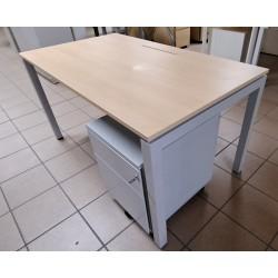 Bureau droit 140 x 80 cm érable / gris clair